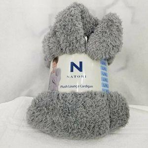 N Natori Women's Plush Lounge Cardigan Gray L / XL